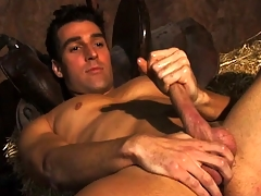 Horny incompetent farmboy Dylan plays with his massive deathlike sausage