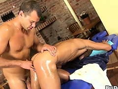Massage studio couch muscled blithe customer gets a dick and asshole massaged