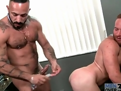 Observe boss fucks a sexy redhead with the asshole