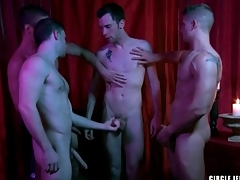 Four guys cum on the principle in congregation jerk