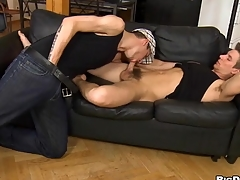 Juvenile sapphist gives impressive hunk a lusty nuisance wipe the floor with session
