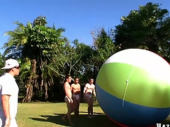 Great team work with four error-free muscular guys and giant ball, enjoy