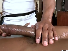 Black stud gets his horny rod rubbed plus stroked