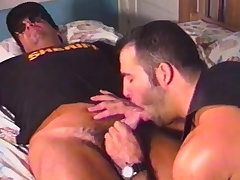 Handsome gay biker exchanges oral pleasures with put emphasize lustful sheriff